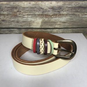 Boho leather belt country western cream off white